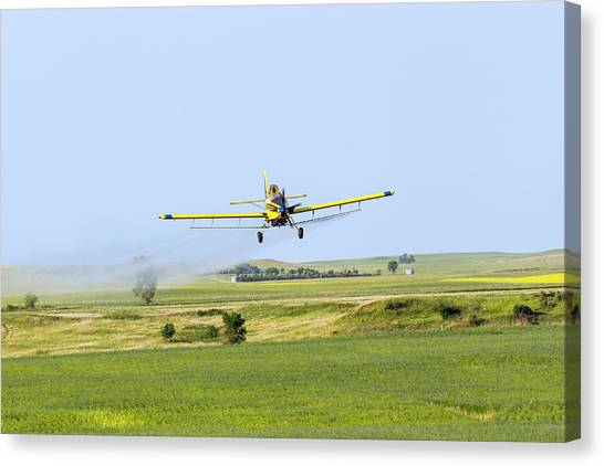 Chemicals Canvas Print - Crop Duster Airplane Spraying Flax by Chuck Haney