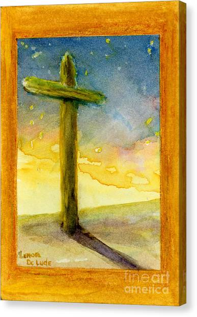 Cross At Dawn In Blue And Gold Sunrise Canvas Print