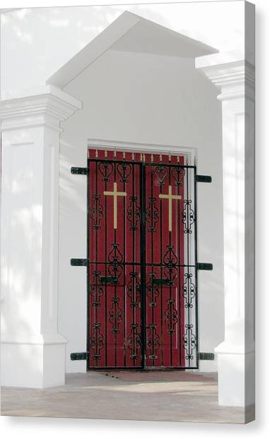 Canvas Print featuring the photograph Key West Church Doors by Bob Slitzan