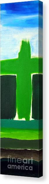 Green Cross On Hill Canvas Print