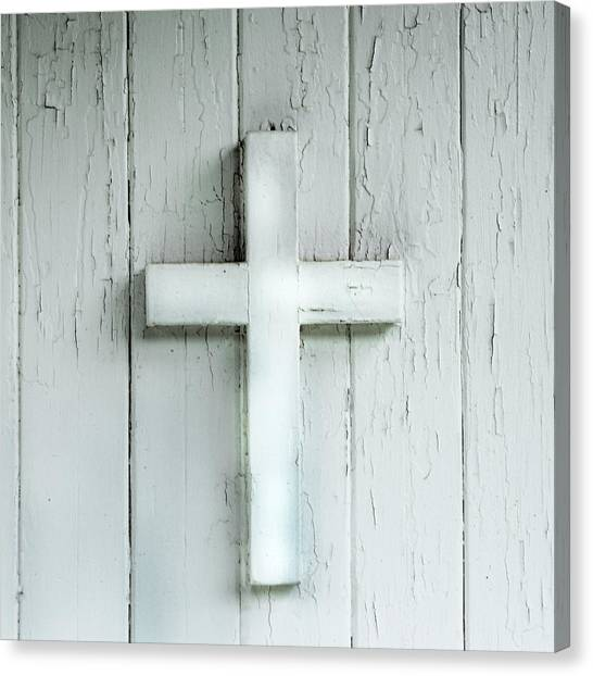 Cross On Holy Angels Sugar Island Michigan Canvas Print