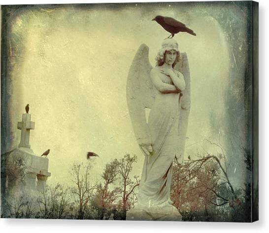 Ravens In Graveyard Canvas Print - Cross Or Angel by Gothicrow Images