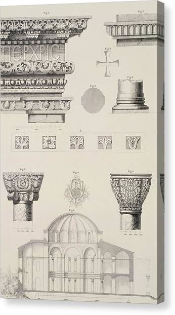 Byzantine Art Canvas Print - Cross Section And Architectural Details Of Kutciuk Aja Sophia The Church Of Sergius And Bacchus by D Pulgher
