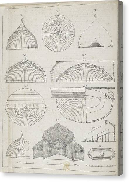 Hothouses Canvas Print - Cross Sections Of Greenhouses by British Library