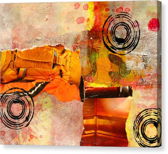 Torn Paper Collage Canvas Print - Cross Town Bus Abstract Collage Painting by Nancy Merkle