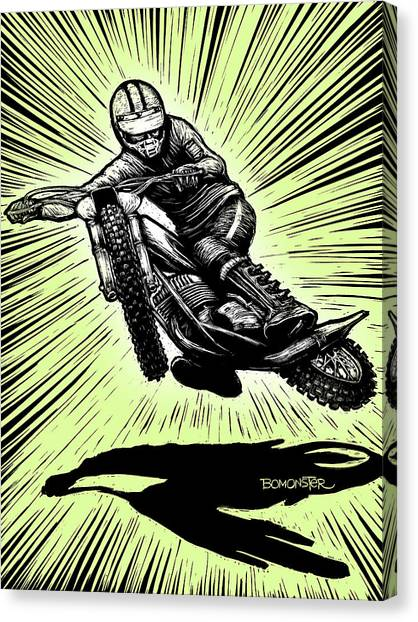 Motocross Canvas Print - Crossed Up Green by Bomonster