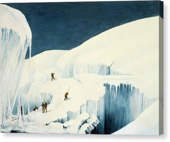Alpine Canvas Print - Crossing A Ravine, From A Narrative by English School