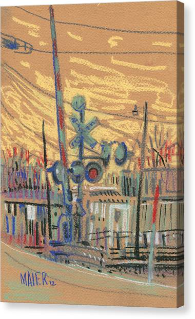 Train Canvas Print - Crossing At Sawyer by Donald Maier