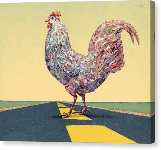 Farm Animals Canvas Print - Crossing Chicken by James W Johnson