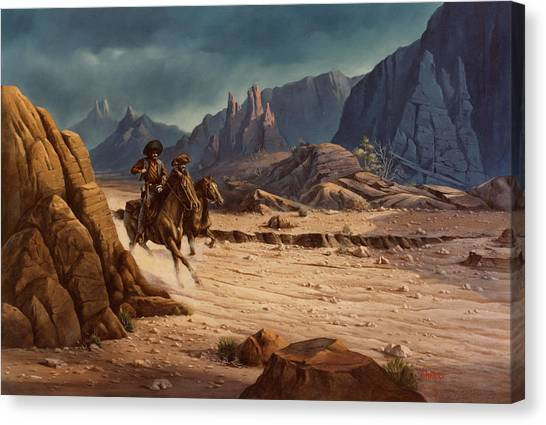 Cowboy Canvas Print - Crossing The Border by Michael Humphries