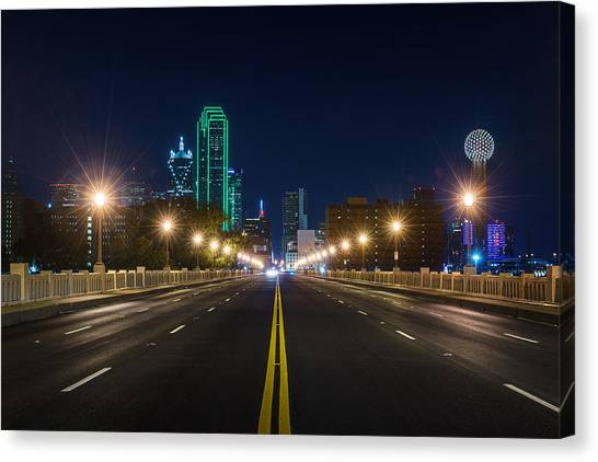 Crossing The Bridge To Downtown Dallas At Night Canvas Print
