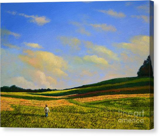 Crossing The Field Canvas Print