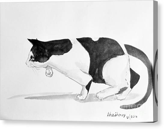 Crouching Cat Canvas Print