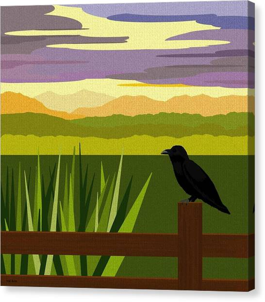 Corn Field Canvas Print - Crow In The Corn Field by Val Arie