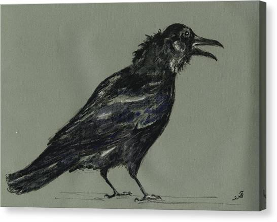 Crows Canvas Print - Crow by Juan  Bosco