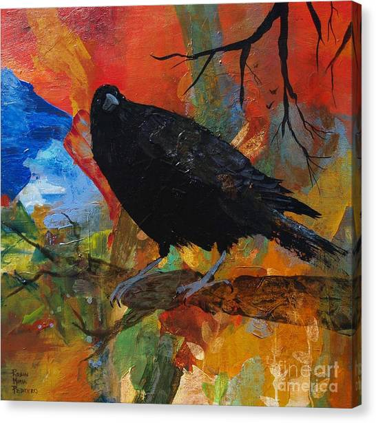 Crow On A Branch Canvas Print