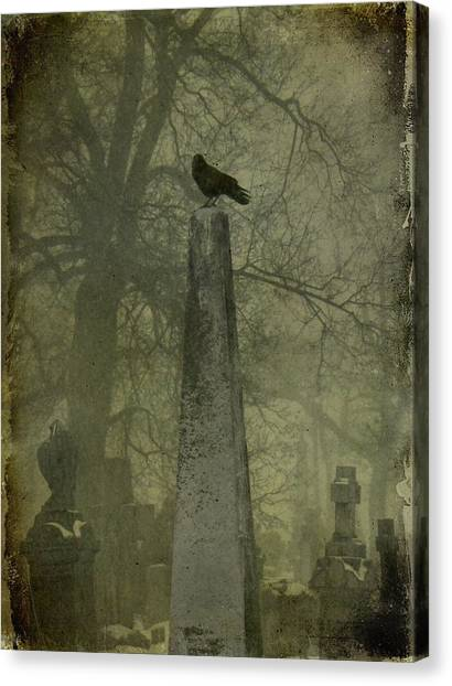 Ravens In Graveyard Canvas Print - Crow On Spire by Gothicrow Images