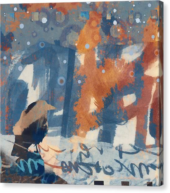 Blackbirds Canvas Print - Crow Snow by Carol Leigh