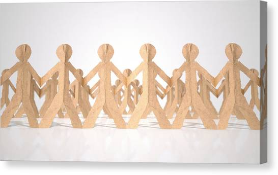 Cutout Canvas Print - Crowd Of Cutout Paper Cardboard Men by Allan Swart