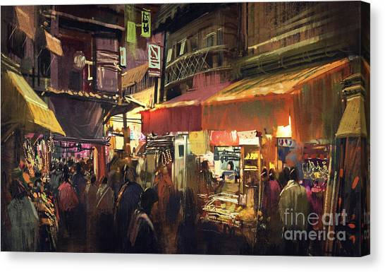 Vivid Canvas Print - Crowd Of People Walking In The Market by Tithi Luadthong