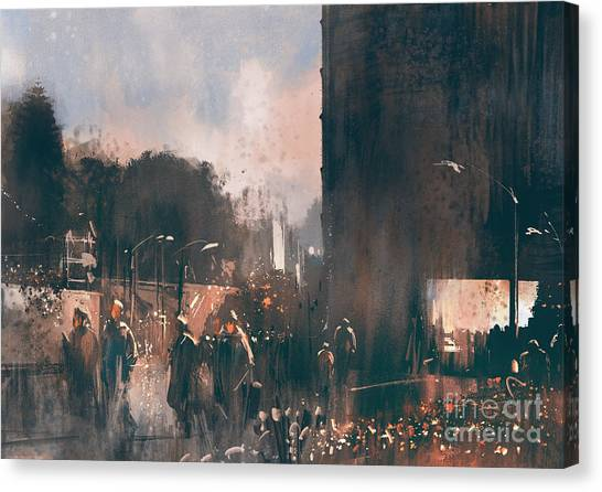 Urban Art Canvas Print - Crowd Of People Walking In The by Tithi Luadthong