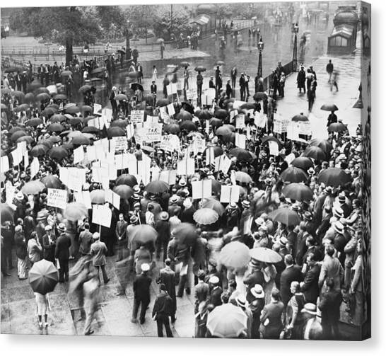 Placard Canvas Print - Crowd Protests Bank Failure by World Telegram