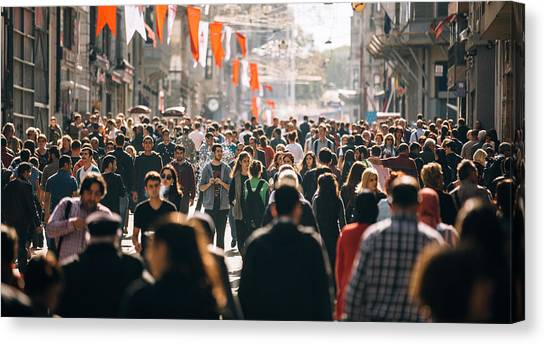Crowded Istiklal Street In Istanbul Canvas Print by Filadendron