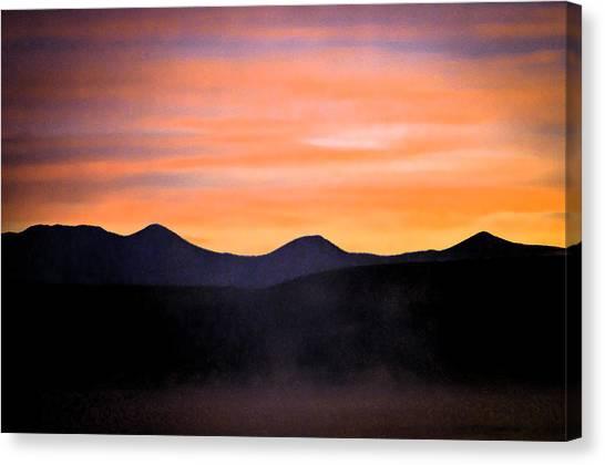 Crowley Lake Sunrise Canvas Print by Sherri Meyer