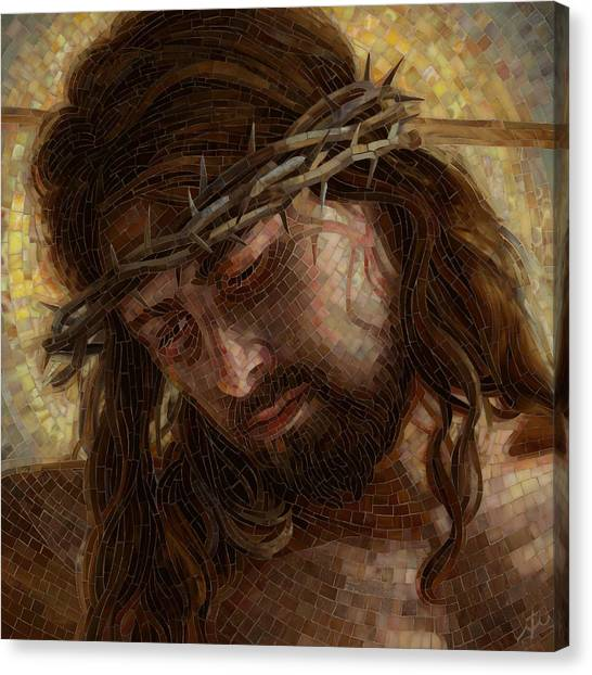 Catholic Canvas Print - Crown Of Thorns Glass Mosaic by Mia Tavonatti