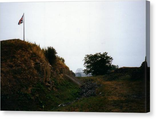 Crown Point Flag And Bridge Canvas Print by David Fiske