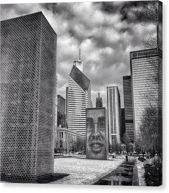 Squares Canvas Print - Chicago Crown Fountain Black And White Photo by Paul Velgos