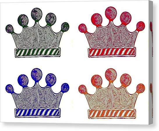 Queens Canvas Print - Crowns #popart #abstract #colors by Alexis Escobar