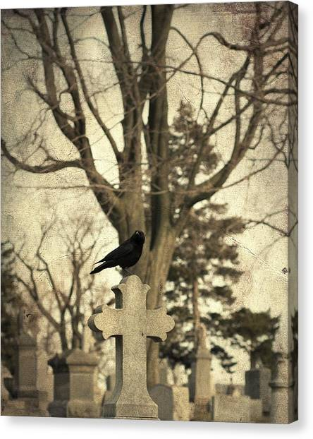 Ravens In Graveyard Canvas Print - Crow's Cross by Gothicrow Images