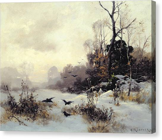 Snow Canvas Print - Crows In A Winter Landscape by Karl Kustner