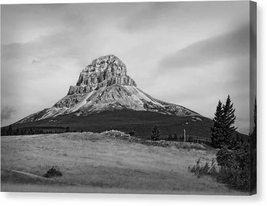 Crowsnest Mountain Black And White Canvas Print
