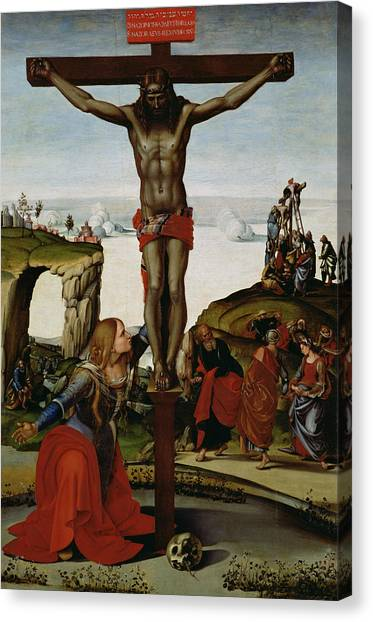 Messiah Canvas Print - Crucifixion With Mary Magdalene by Luca Signorelli