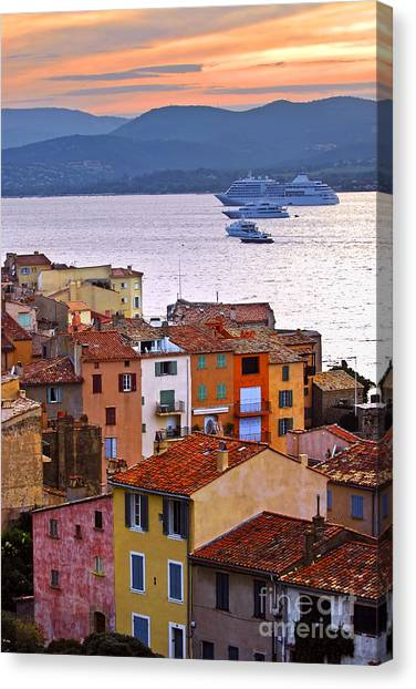 Southern France Canvas Print - Cruise Ships At St.tropez by Elena Elisseeva