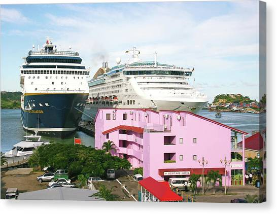 Cruise Ships Canvas Print - Cruise Ships by Graeme Ewens/science Photo Library