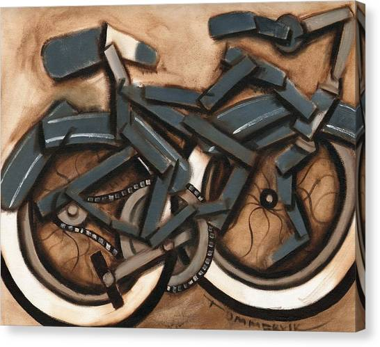 Abstract Blue Cruiser Bicycle Art Print Canvas Print