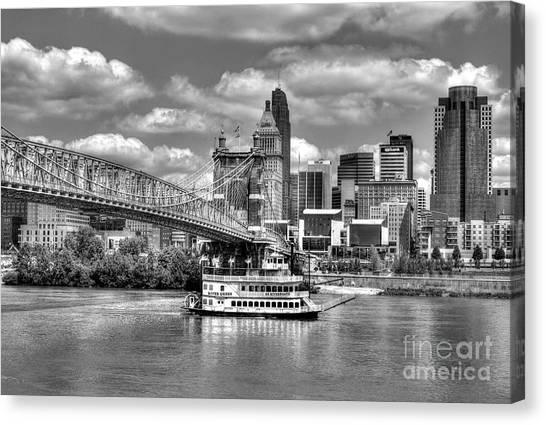 Canvas Print featuring the photograph Cruising By Cincinnati 3 Bw by Mel Steinhauer