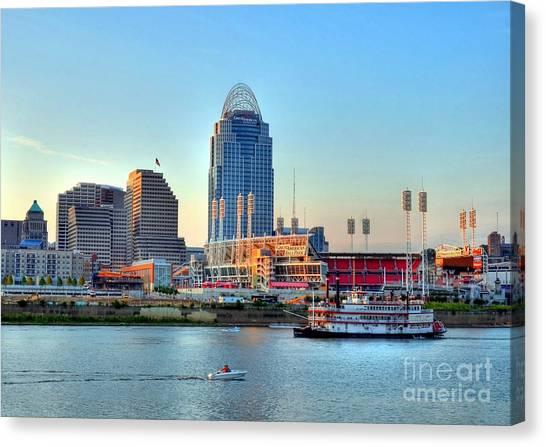Cincinnati Reds Canvas Print - Cruising By Cincinnati by Mel Steinhauer