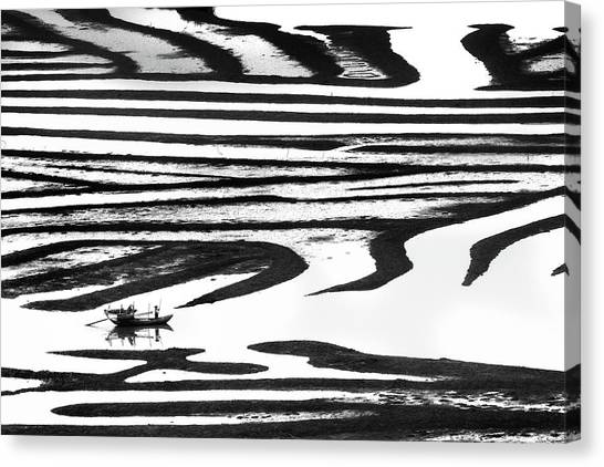 Fishing Boats Canvas Print - Cruising On A Zebra by Youdu,tian(???)