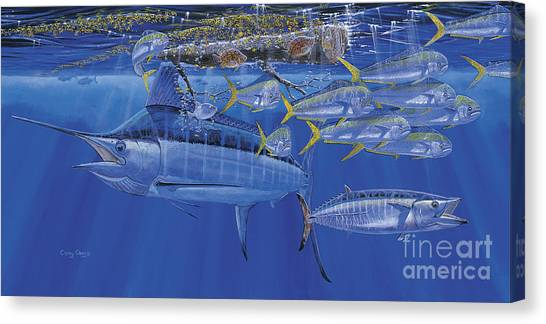 Spearfishing Canvas Print - Crystal Blue Off00100 by Carey Chen