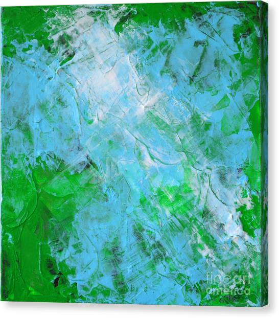 Crystal Cave - Green Pale Blue Abstract By Chakramoon Canvas Print by Belinda Capol