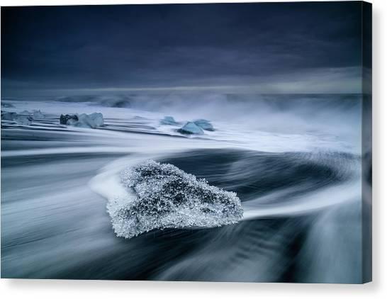 Black Sand Canvas Print - Crystal Ice by Luigi Ruoppolo