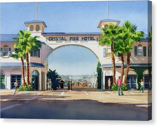 Coffee Mug Canvas Print - Crystal Pier Pacific Beach by Mary Helmreich