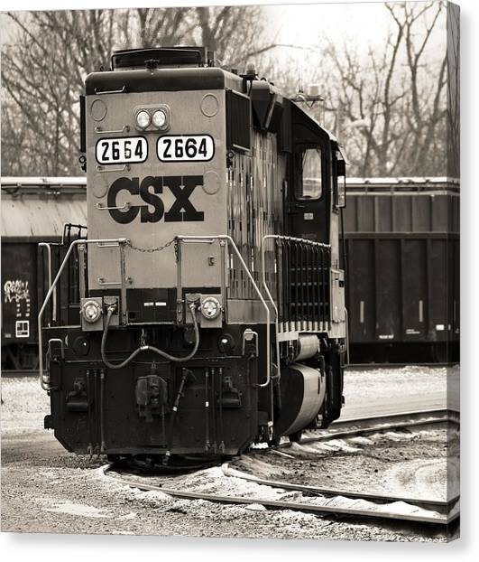 Train Conductor Canvas Print - Csx Train In Winter Sepia by Dan Sproul