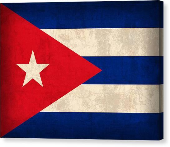Cuba Canvas Print - Cuba Flag Vintage Distressed Finish by Design Turnpike