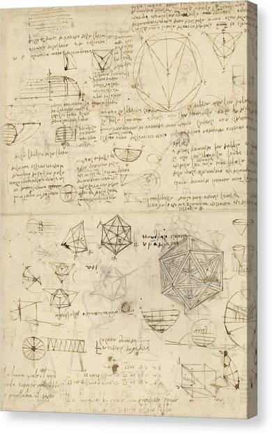Genius Canvas Print - Cube Sphere Icosahedron Mention Of Known Project For Telescope  by Leonardo Da Vinci