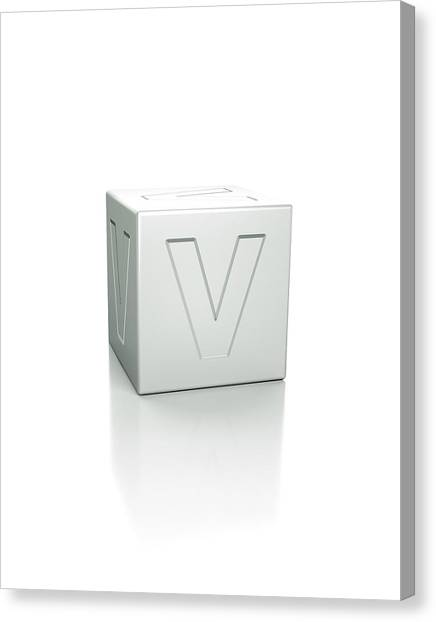 Cube With The Letter V Embossed Canvas Print by David Parker/science Photo Library
